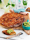 Focaccia with sea salt and pine nuts, with guacamole