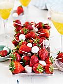 Strawberry and mozzarella skewers