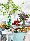 A summer party buffet