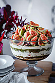 Trifle with figs, port and pistachios