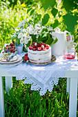 Strawberry cake in a garden