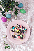 Mazurek (No bake Polish Easter cake) with marzipan filling and chocolate