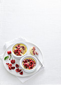 Steamed vanilla cream with cherries