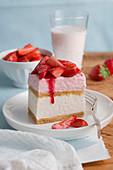 A slice of strawberry tiramisu