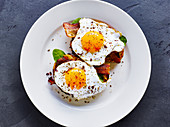 Toasted bread with bacon and fried egg
