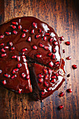 Chocolate biscuit pie with pomegranate ganache