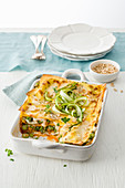 Lasagne with green asparagus, goat's cheese and tomato pesto