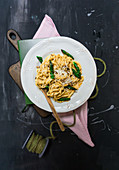 Linguine with caramelised green asparagus and Parmesan