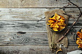 Chanterelle mushrooms picked in bowls and kept unwashed