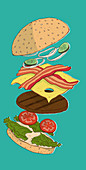 A deconstructed burger (illustration)