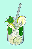 Lemonade with lime, mint and ice cubes (illustration)