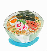Ramen with egg (illustration)