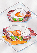 Sandwiches with bacon and fried eggs (illustration)