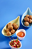 Carnival meatballs with a chilli dip