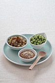 Chestnut cream, sesame seeds, and broad beans in small bowls on a plate