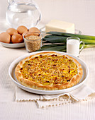 Leek quiche with sesame seeds