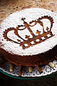 A King's cake with icing sugar (Portugal)