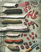 Variety of Spanish or Italian cured meat sausages