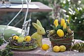 Gelbe Oster - Arrangement mit Osterhase und Osternest