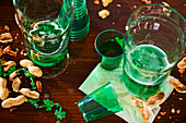 After the party: empty glasses and peanut shells