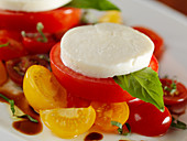 Tomatoes with mozzarella and basil (close-up)