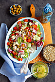 Salad with cherry tomatoes and blue cheese
