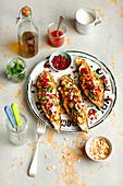 Gefüllte Auberginen mit Quinoa, Spinat und Feta