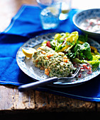 Cod cakes with tartare sauce and salad