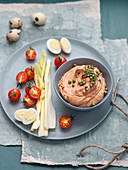 Anchovy dip with dried tomatoes and olives