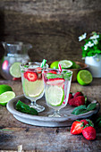 Strawberry lime drink - infused mineral water