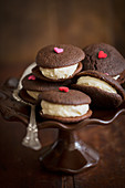 Whoopie pies with sugar hearts for Valentine's Day