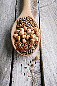 Lentils, chickpeas and flaxseed on a wooden spoon