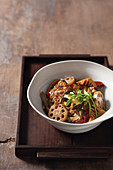 Korean boiled sea bream with lotus root