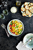 Tomato Olive Oil Wine Sauce over Spaghetti served with Cheese Toasts