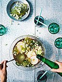 Elderflower punch with apple, cucumber and gin