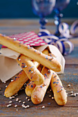 Sweet bread sticks with sugar sprinkles