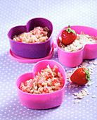 Baby food made with oats, strawberries and apples