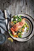 Ocean trout, quinoa and zucchini salad with tahini yoghurt
