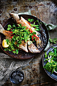 Grilled barramundi with pea salad and eschalot dressing