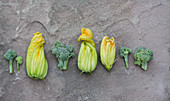 Courgette flowers and broccoli florets