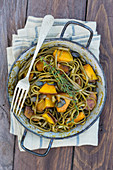 Spinach noodles with ginger squash