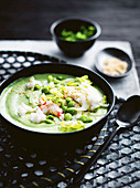 Edamame soup with prawns and silken tofu (Asia)