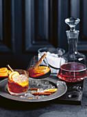 Portwein Punch mit Zimt und Orangen