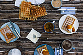 Belgium waffles with cream and apricots