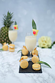 Pina colada macaroons and cocktails