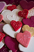 Heart-shaped biscuits with icing