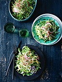 Green mango salad with creamy yoghurt dressing