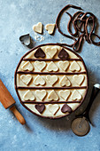 Pie crust decorated with heart shapes