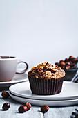 Hazelnut muffins on white backgroundd