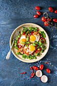 Traditional Israeli Cuisine dishes Shakshuka (Fried egg with vegetables tomatoes and paprika)